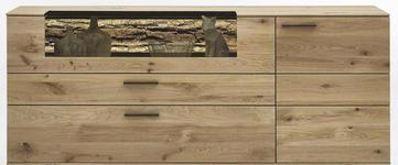 SIDEBOARD Kerneiche vollmassiv matt, lackiert, gebürstet, gewachst - Eichefarben/Anthrazit, Design, Glas/Holz (192/77/44cm) - Valnatura