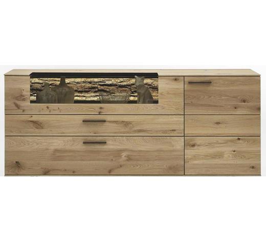 SIDEBOARD Kerneiche vollmassiv matt, lackiert, gebürstet, gewachst Eichefarben  - Eichefarben/Anthrazit, Design, Glas/Holz (192/77/44cm) - Valnatura