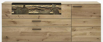 SIDEBOARD 192/77/44 cm - Eichefarben/Anthrazit, Natur, Glas/Holz (192/77/44cm) - Valnatura