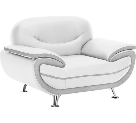 SESSEL Lederlook Grau, Weiß    - Chromfarben/Weiß, Basics, Textil/Metall (126/85/87cm) - Ti`me