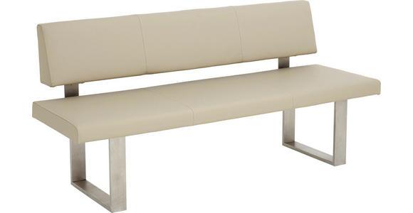 SITZBANK  in Edelstahlfarben, Sandfarben - Sandfarben/Edelstahlfarben, Design, Leder/Metall (180cm) - Valnatura