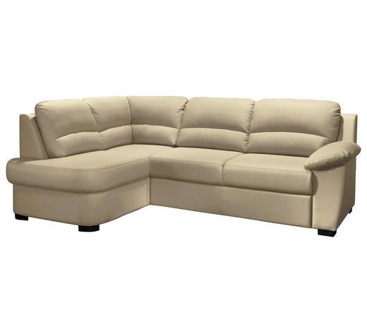 Ecksofa Beige Lederlook  - Beige/Schwarz, KONVENTIONELL, Kunststoff/Textil (165/240cm) - Cantus