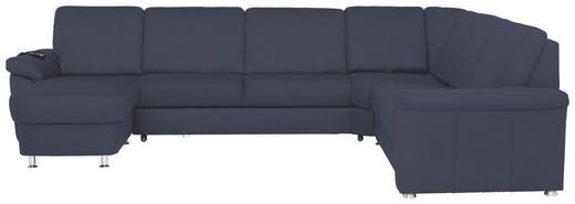 WOHNLANDSCHAFT - Blau/Chromfarben, KONVENTIONELL, Textil/Metall (163/330/240cm) - Beldomo System