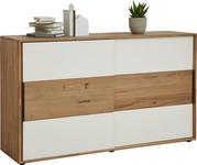 KOMMODE Wildeiche massiv Eichefarben, Magnolie - Eichefarben/Magnolie, Design, Glas/Holz (164/95,8/44,2cm) - Valnatura