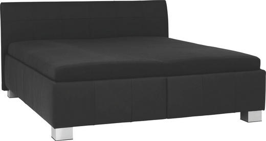 POLSTERBETT 160/200 cm - Silberfarben/Schwarz, KONVENTIONELL, Leder/Textil (160/200cm) - XORA