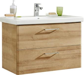 KOMBINOVANÉ UMYVADLO - bílá/barvy dubu, Konvenční, kov/dřevěný materiál (82/56/45cm) - Xora
