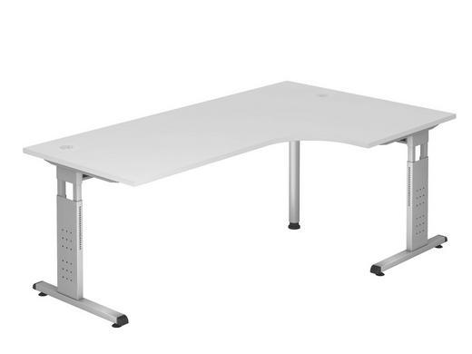 ECKSCHREIBTISCH - Silberfarben/Weiß, KONVENTIONELL, Holzwerkstoff/Metall (120/200cm)