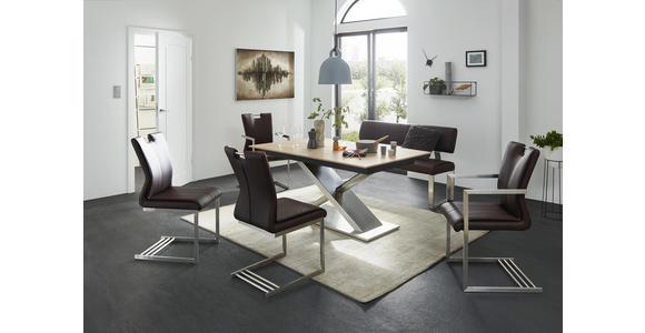 ARMLEHNSTUHL in Braun, Edelstahlfarben  - Edelstahlfarben/Braun, Design, Textil/Metall (51/99/53cm) - Dieter Knoll