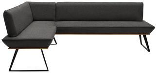 ECKBANK 183/203 cm  in Schwarz, Eichefarben, Dunkelgrau  - Eichefarben/Dunkelgrau, Design, Holz/Textil (183/203cm) - Voleo