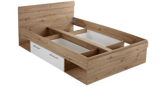 Bett Box 140x200 Artisan Eiche/Alpinweiß - Blau/Eichefarben, MODERN, Holzwerkstoff (140/200cm) - Ombra