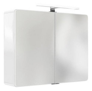 Details zu Spiegelschrank 90 cm integrierte LED Beleuchtung doppelt verspiegelt : Weiß Hoch