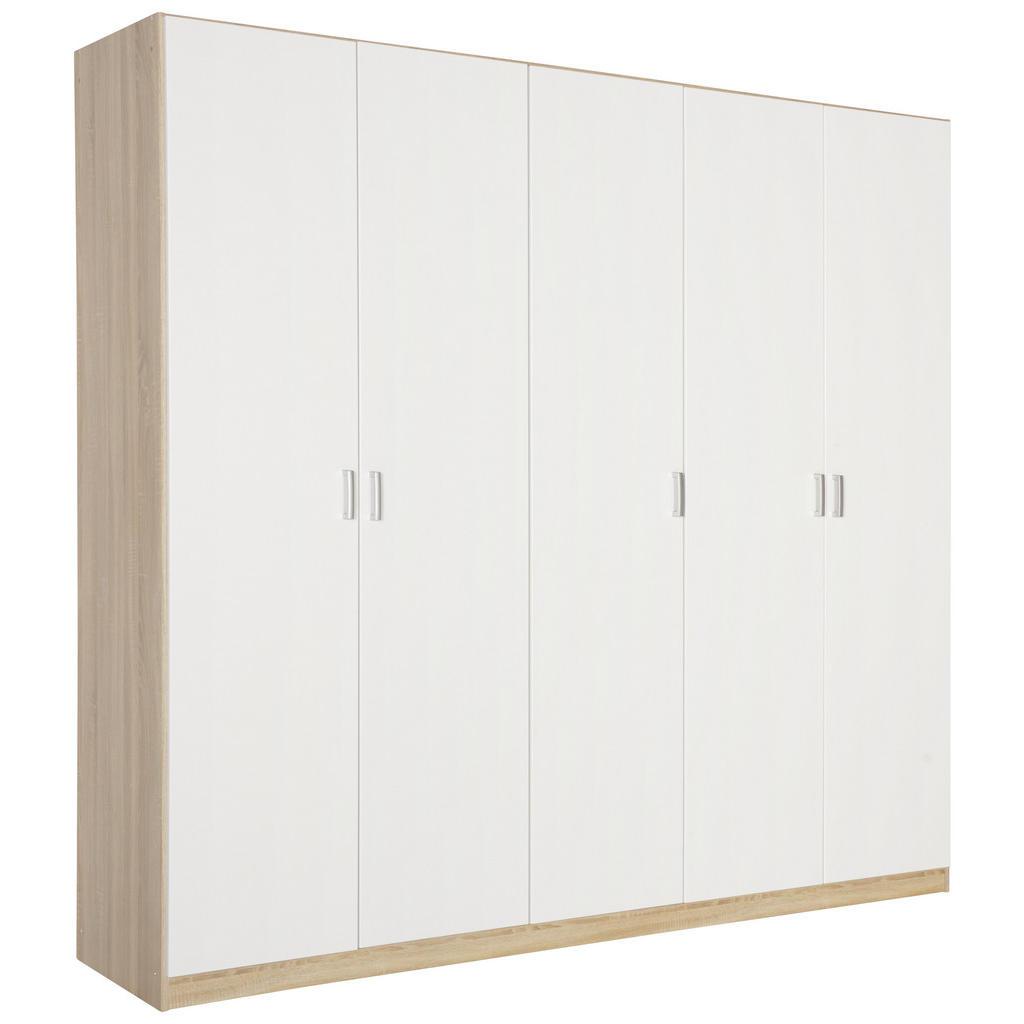Image of Boxxx Drehtürenschrank in weiss, sonoma eiche , Kreta -Extra -Top- , Holzwerkstoff , 3 Fächer , 226x210x54 cm , bedruckt,Nachbildung , 000380054301