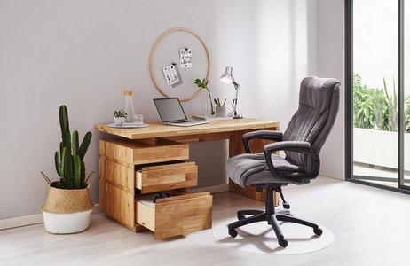 Schreibtisch Mit Schubladen Aus Eiche Massiv
