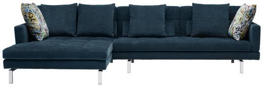 WOHNLANDSCHAFT in Textil Blau - Chromfarben/Blau, Design, Textil/Metall (161/315/cm) - Brühl