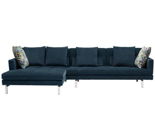 WOHNLANDSCHAFT in Textil Blau  - Chromfarben/Blau, Design, Textil/Metall (161/315cm) - Brühl