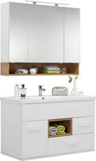 BADRUM - vit/ekfärgad, Klassisk, glas/träbaserade material (105cm) - Sadena