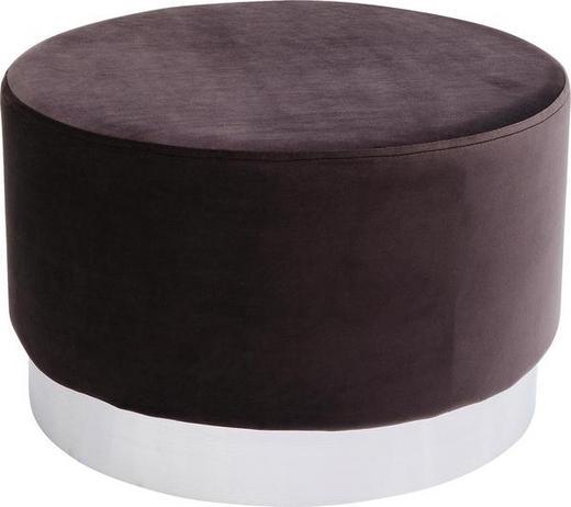 HOCKER Samt Dunkelbraun - Dunkelbraun/Silberfarben, Trend, Textil/Metall (55/35cm) - Kare-Design