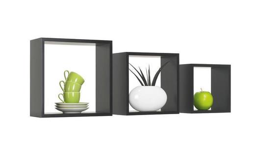 SADA NÁSTĚNNÝCH REGÁLŮ - černá, Design, kompozitní dřevo (28/24/20/28/24/20/12cm) - Boxxx