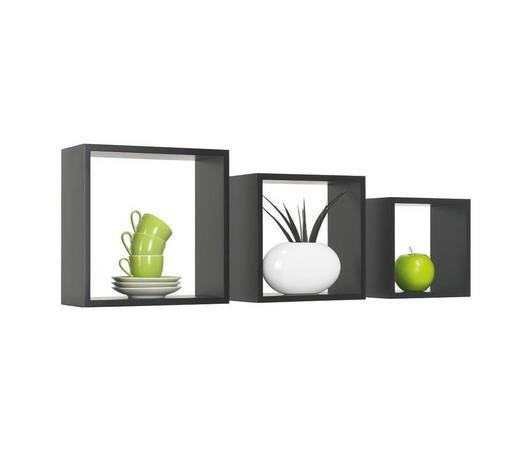 SADA NÁSTĚNNÝCH REGÁLŮ, černá,  - černá, Design, kompozitní dřevo (28/24/20/28/24/20/12cm) - Boxxx