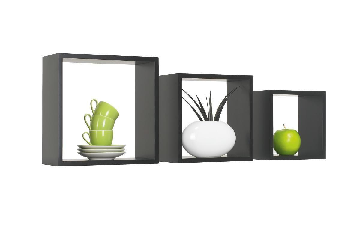 SET ZIDNIH POLICA - crna, Design, drvni materijal (28/24/20/28/24/20/12cm) - BOXXX