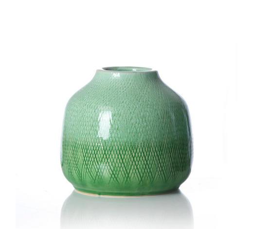 VÁZA, zelená, světle zelená, jadeitově zelená - jadeitově zelená/zelená, Konvenční, keramika (17/17/16cm) - Ritzenhoff Breker