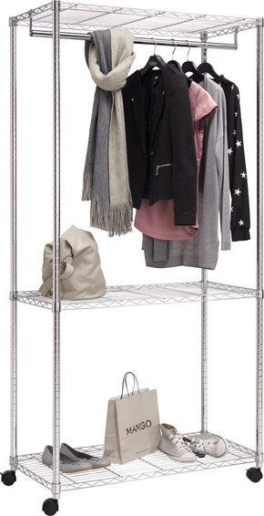 KLÄDSTÄLLNING PÅ HJUL - kromfärg, Design, metall (90/187/45cm) - Carryhome