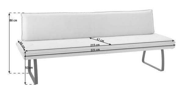 SITZBANK 221/86/66 cm  in Schwarz, Schlammfarben  - Schlammfarben/Schwarz, Design, Leder/Metall (221/86/66cm) - Dieter Knoll