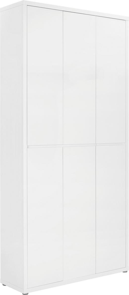SCHUHSCHRANK Hochglanz, lackiert Weiß - Weiß, Design, Holzwerkstoff (102/212/34cm) - Xora