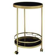 SERVIERWAGEN rund Schwarz, Goldfarben  - Goldfarben/Schwarz, Design, Glas/Kunststoff (45/76/45cm) - Carryhome