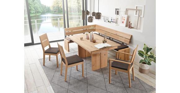ECKBANK Flachgewebe Asteiche massiv Braun, Eichefarben  - Eichefarben/Braun, KONVENTIONELL, Holz/Textil (160/230cm) - Linea Natura