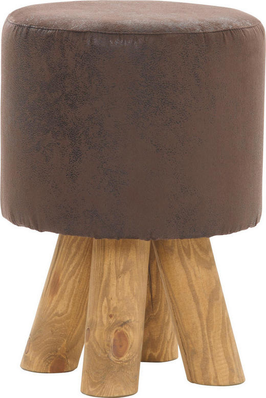 HOCKER Buche massiv Braun - Braun, Design, Holz/Textil (30/45/30cm)