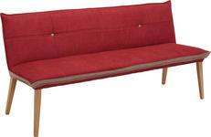 SITZBANK Webstoff Eiche massiv Eichefarben, Grau, Rot - Eichefarben/Rot, KONVENTIONELL, Holz/Textil (179/80/60cm) - Voleo
