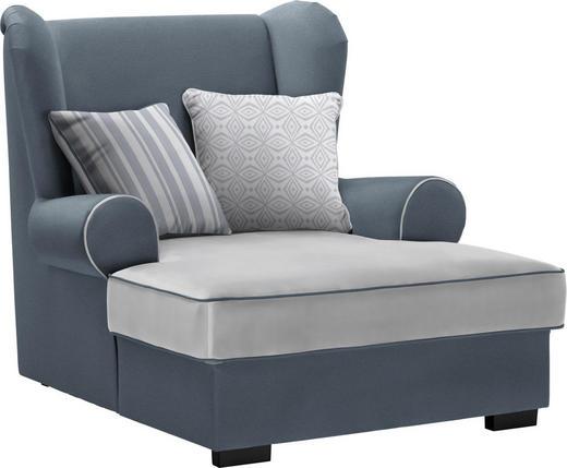 OHRENSESSEL in Textil Grau - Braun/Grau, ROMANTIK / LANDHAUS, Kunststoff/Textil (108/113/142cm) - Hom`in