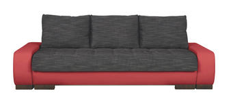 SCHLAFSOFA in Textil Rot, Schwarz  - Wengefarben/Rot, Design, Holz/Textil (243/90/100cm) - Carryhome