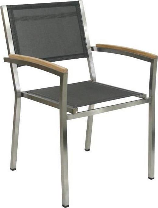 STAPELSESSEL Teakholz Edelstahl Anthrazit, Edelstahlfarben, Teakfarben - Edelstahlfarben/Anthrazit, Design, Holz/Textil (58/88/60cm) - Zebra Süd