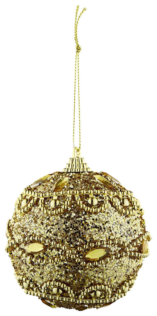 CHRISTBAUMKUGEL-SET  12-teilig Goldfarben - Goldfarben, Basics, Kunststoff (8cm)