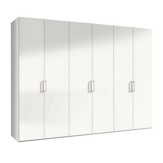 DREHTÜRENSCHRANK 6  -türig Weiß - Alufarben/Weiß, KONVENTIONELL, Holzwerkstoff/Metall (300/216/58cm) - Hom`in