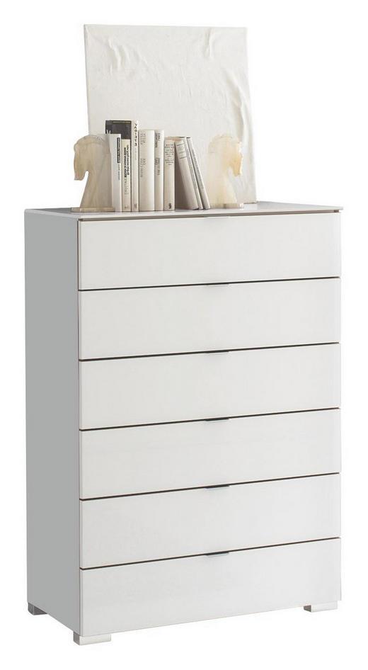 KOMMODE Weiß - Chromfarben/Weiß, Design, Glas/Kunststoff (80/114/40cm) - MODERANO