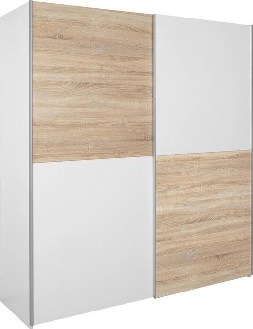 SCHWEBETÜRENSCHRANK 2-türig Eichefarben, Weiß - Eichefarben/Alufarben, Design, Holzwerkstoff/Metall (170/195/63cm) - Carryhome