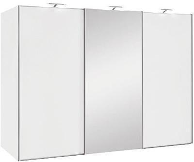 SCHWEBETÜRENSCHRANK 3-türig Weiß - Alufarben/Weiß, Design, Glas/Holzwerkstoff (249/222/68cm) - Moderano