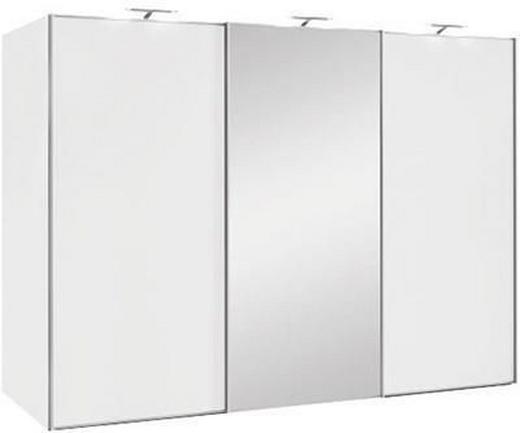 SCHWEBETÜRENSCHRANK 3  -türig Weiß - Alufarben/Weiß, Design, Glas/Holzwerkstoff (249/222/68cm) - MODERANO