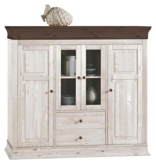 HIGHBOARD Kiefer massiv lackiert Dunkelbraun, Weiß - Dunkelbraun/Weiß, Design, Holz (156,5/141/45cm) - Carryhome