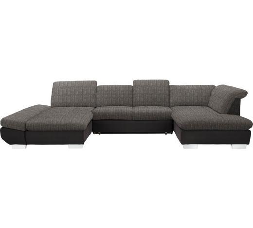 WOHNLANDSCHAFT in Textil Braun, Hellbraun  - Chromfarben/Hellbraun, Design, Kunststoff/Textil (204/350/211cm) - Xora