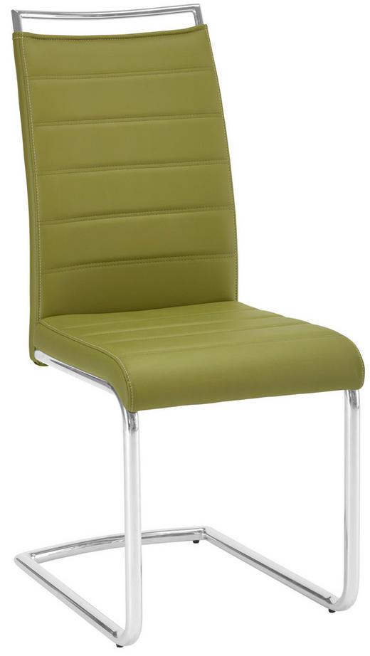 SCHWINGSTUHL Lederlook Chromfarben, Dunkelgrün - Chromfarben/Dunkelgrün, Design, Textil/Metall (43/99/56cm) - NOVEL
