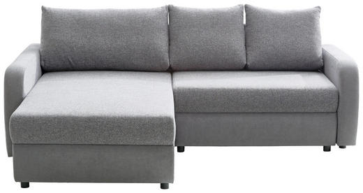 WOHNLANDSCHAFT Grau, Hellgrau Webstoff - Hellgrau/Schwarz, Design, Kunststoff/Textil (180/228cm) - Ti`me