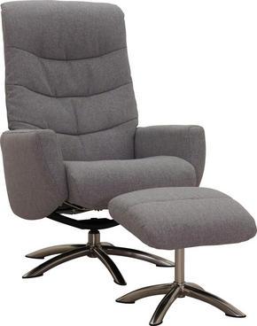 FÅTÖLJ OCH PALL - kromfärg/grå, Klassisk, metall/trä (75/108/88cm) - Low Price