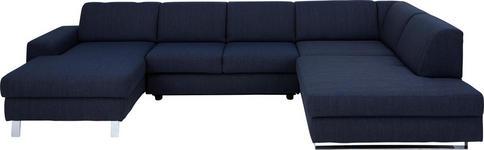 WOHNLANDSCHAFT Blau Webstoff  - Blau/Chromfarben, Design, Textil/Metall (157/350/198cm) - Venda