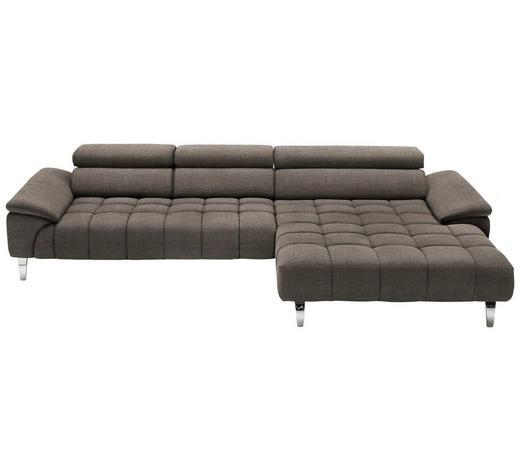 WOHNLANDSCHAFT in Textil Braun  - Chromfarben/Braun, Design, Textil/Metall (329/190cm) - Beldomo Style