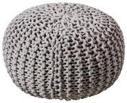POUF Uni Grau  - Silberfarben/Grau, Trend, Textil (55/35cm) - Linea Natura