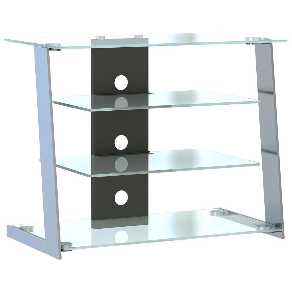 Stilvolles TV-Regal aus Edelstahl und Glas